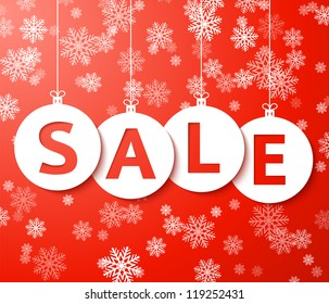 Christmas sale balls with snowflake (cut the paper) Vector.