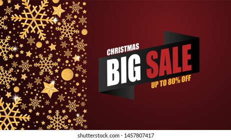 Christmas sale banner background with golden snow flakes and decoration on red background in paper cut style. Vector illustration. Web banner, Brochure, Flyer, Template, Advertising season.