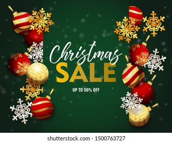 Christmas sale banner with balls and flakes on green ground. Lettering can be used for invitations, post cards, announcements