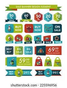 Christmas sale banner design flat background set, eps10