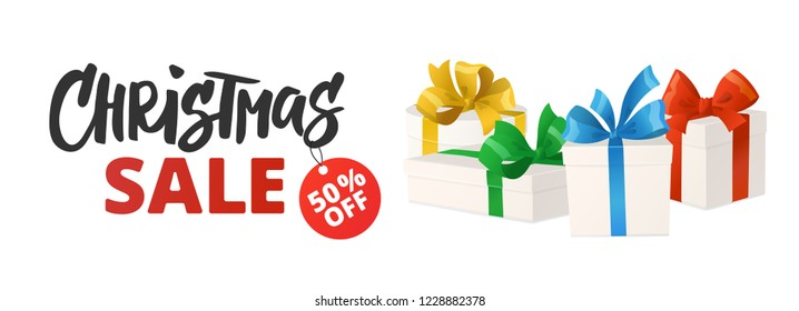 Christmas sale banner with discount tag. Cartoon gift boxes isolated on white. Christmas sale text. Holiday presents with bows, vector illustration. Great for winter season shopping sale promotions.