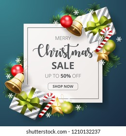 Christmas sale banner with christmas elements.