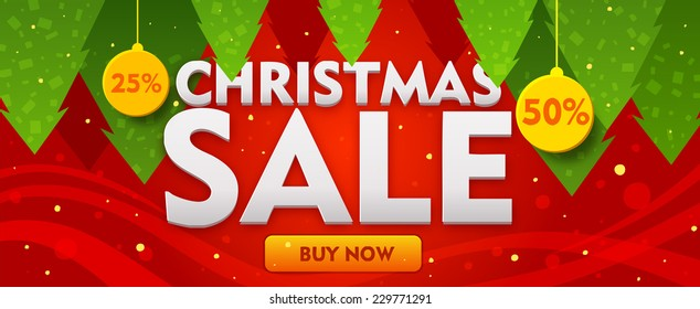 Christmas sale banner with fir trees on red backdrop. Vector