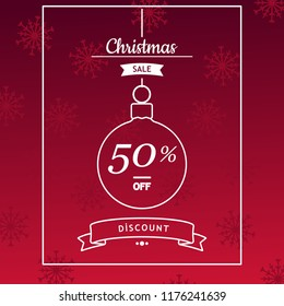 Christmas sale banner, flyer, card template design on red background with snowflakes