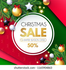 Christmas Sale Banner. Holiday Background with Fit Tree Branches and Golden, Silver and Black Balls. Vector illustration