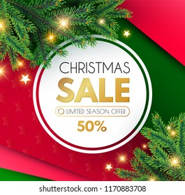Christmas Sale Banner. Holiday Background with Fit Tree Branches and Golden Balls. Vector illustration