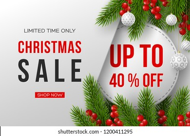 Christmas sale banner. Realistic fir-tree branches with berries and balls. Vector illustration for winter holiday discounts.