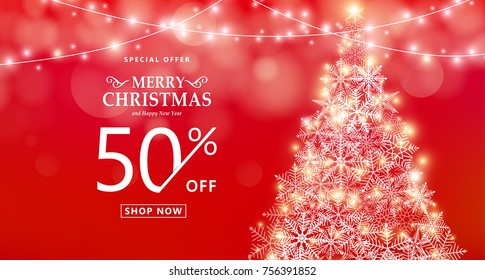 Christmas sale banner. Special offer, discount type text, 50 off. Xmas lights, star, snowflake tree, garland string decoration. Red background with shine fog, gold bokeh. Vector illustration