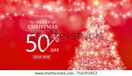 christmas sale banner special offer discount type text 50 off xmas lights