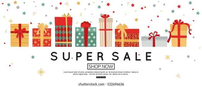 Christmas sale banner template with gift boxes. Vector illustration
