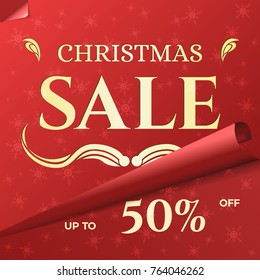 Christmas Sale Banner Template. Swirled Red Paper with Snowflake Pattern. Xmas Festive Background for Sale.