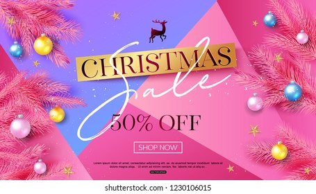 Christmas sale banner template with tree branch and colorful balls. Vector illustration