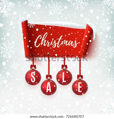 christmas sale banner with christmas tree decorations red abstract ribbon on winter background with snow