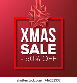 Christmas Sale Banner Vector. Big Super Sale. Cartoon Business Brochure Illustration. Winter Design For Holidays Xmas Banner, Brochure, Poster, Discount Offer