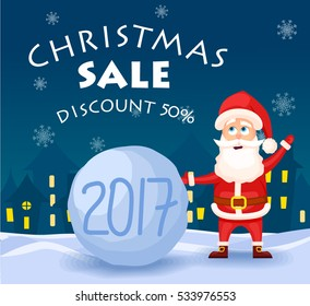 Christmas sale banner with Vector illustration of stylized  snowball and santa claus. New year background