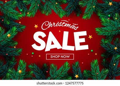 Christmas Sale banner, Xmas sparkling lights, christmas tree branch. Horizontal christmas posters, cards, headers, website, vector illustration.