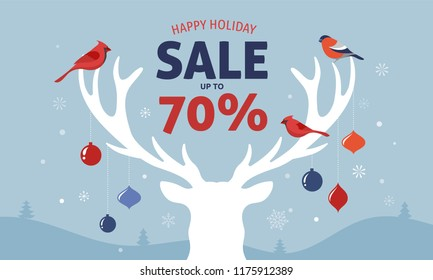Christmas sale banner, Xmas template background with deer silhouette. Retail marketing, new advertising campaign, holiday shopping, vector illustration