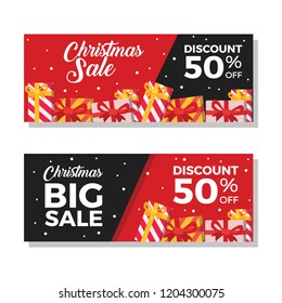 Christmas sale banners with 50% Discount