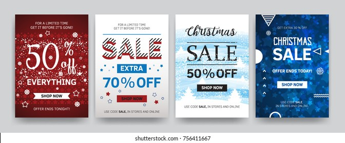 Christmas sale banners. Vector illustrations of online shopping website and mobile website banners, posters, newsletter designs, ads, coupons, social media banners. Winter discount.