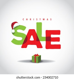 Christmas sale big bright overlapping design  EPS 10 vector stock illustration