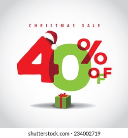 Christmas sale big bright overlapping design 40% off EPS 10 vector stock illustration