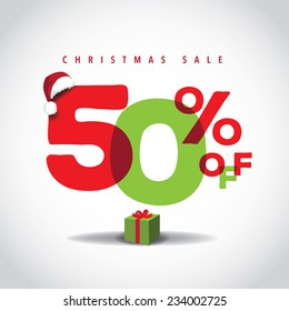 Christmas sale big bright overlapping design 50% off EPS 10 vector stock illustration