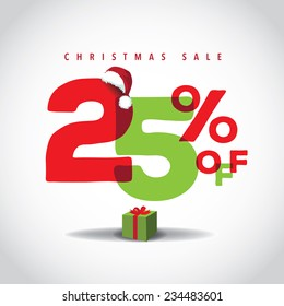 Christmas sale big bright overlapping design 25% off EPS 10 vector stock illustration