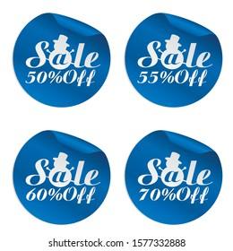 Christmas sale blue stickers set 50%, 55%, 60%, 70% off.Vector illustration