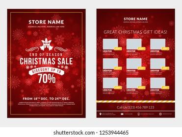 Christmas Sale Catalog Design Business Flyer Stock Vector
