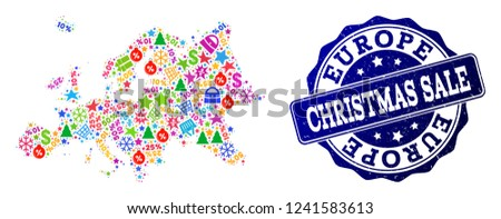 Map Of Europe For Sale.Christmas Sale Composition Mosaic Map Europe Stock Vector Royalty
