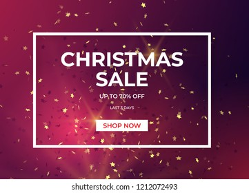 Christmas sale design with gold glitter and star shapes confetti. Vector illustration.