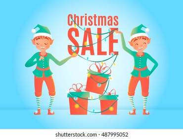 christmas sale design template elf gift stock vector royalty free