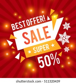 Christmas Sale Design Template. Hot Seasonal Sale. Vector illustration