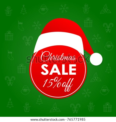 Christmas Sale Discount Banner 15 Percent Stock Vector (Royalty Free ...