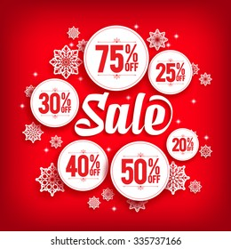 Christmas Sale Discount in Circles with Snowflakes in Red Background. Vector Illustration
