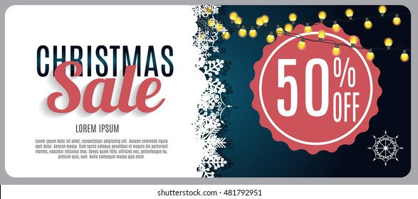 Christmas Sale, Discount Voucher Banner Background. Business Discount Card. Vector Illustration EPS10