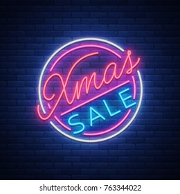 Christmas sale discounts, card postcard in neon style. Neon sign, bright poster, luminous night advertising Christmas sales. Vector illustration.