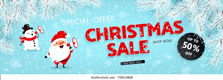 Christmas sale, discounts. A festive New Year banner. Santa Claus and Snowman announces discounts through a megaphone. Snow, branches of the Christmas tree. Vector illustration