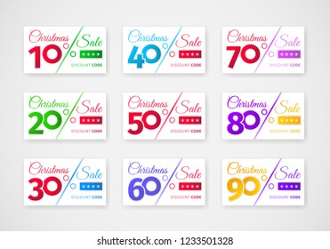 Christmas sale discounts template. Set of coupons with different percentages -10, 20, 30, 40, 50, 60, 70, 80, 90. Stylish design of sales cards. Realistic white banner on white. Eps 10 vector.