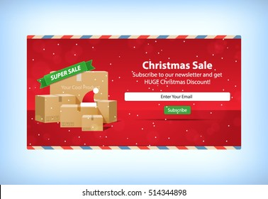 Christmas Sale E-mail Newsletter Subscription Mockup Template Layout Vector Illustration