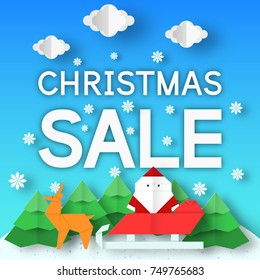 Christmas Sale. Fashion Xmas rebate banner with origami landscape for big offer. Vector paper background.