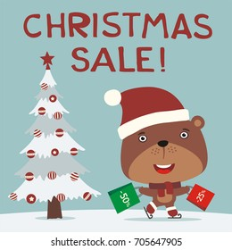 Christmas Sale Funny Lion Skating Packages Stock Vector (Royalty ...