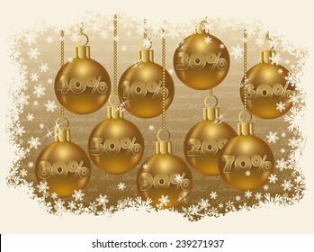 Christmas sale golden card, vector illustration