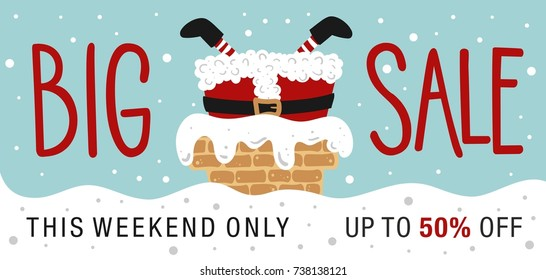 Christmas sale. Hand drawn lettering. Santa Stuck.