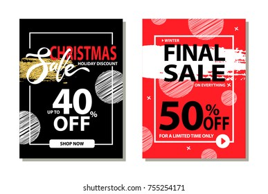 Christmas sale holiday discount final prices 50 % off for limited time only poster with frame and brush strokes isolated on red background promo banner