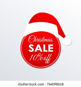 Christmas sale icon. 10% price off badge. Xmas and holiday discount design element with Santa Claus hat. Shopping decoration sticker or tag. Vector illustration.