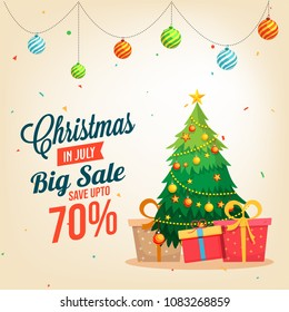 Christmas sale in July, poster, or banner template, with christmas tree and gift boxes. wth date and offers details.