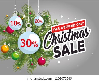 christmas sale label with garlands and balls
