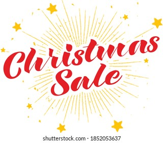 Christmas sale lettering with stars background