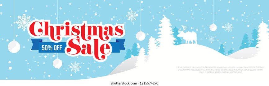 Christmas Sale, Offer Banner Header Design Background Template with 50% Discount Tag